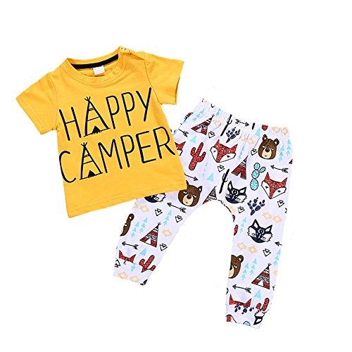 Anywow Baby Jungen Mädchen T-Shirt Hose Set 2pcs Kinder Unisex Kleidung Set Tragen Muster Bär Fuchs