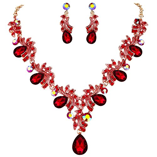 BriLove Wedding Bridal Necklace Earrings Jewelry Set for Women Crystal Teardrop Filigree Leaf Twig Enamel Statement Necklace Dangle Earrings Set Ruby Color Gold-Toned