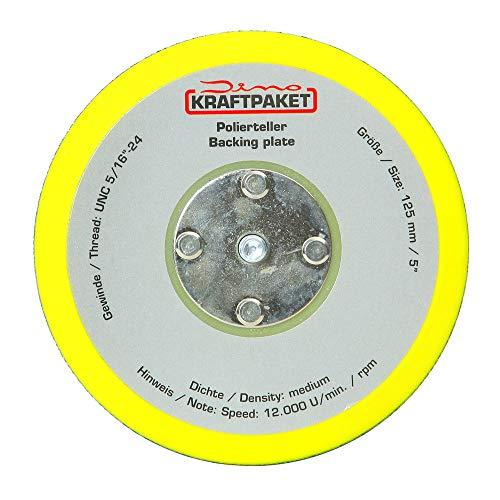 Dino KRAFTPAKET 125mm-Stützteller-5/16-24 mit Klett Polierteller für Exzenter Poliermaschine