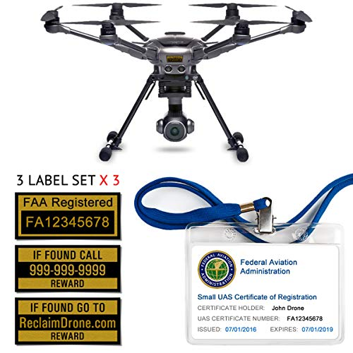 Yuneec Typhoon H - FAA Drone Labels (3 Sets of 3) + FAA UAS Registration ID Card for Hobbyist Pilots + Lanyard and ID Card Holder