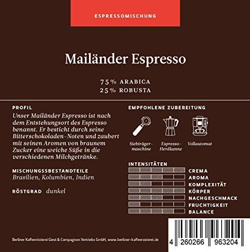 Berliner Kaffeerösterei Espresso Classico 1000g, ganze Bohne, 1er Pack (1 x 1 kg)