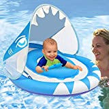 Baby Swimming Pool Float Ring with Removable Sun Canopy Safety Seat,Newest Double Airbag Inflatable Babies Spring Floatie Swim Trainer Newborn Infant Toddler, 6-36 Months