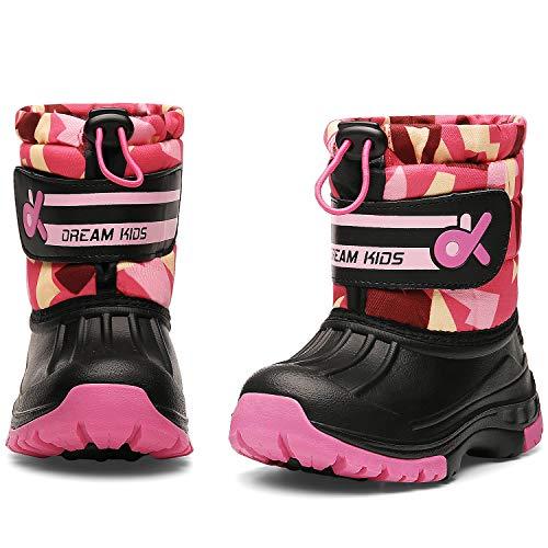 DREAM KIDS Toddler Snow Boots Boys & Girls Lightweight Waterproof Cold Weather Winter Outdoor Boots (Toddler/Little Kid) 19TXDK02-T34-2-34