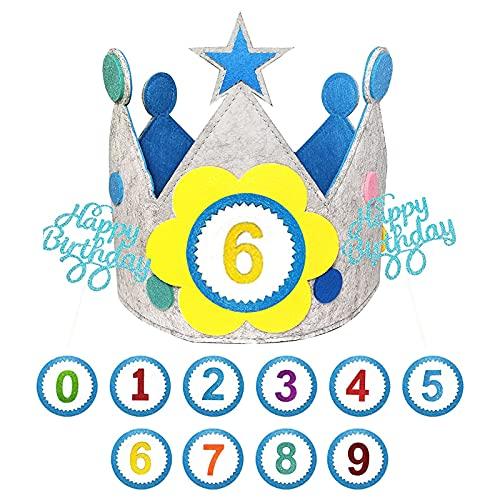 Ohiyoo Geburtstagskrone, Filz Kindergeburtstagskrone für Jungen und Mädchen mit austauschbaren Zahlen von 0 - 9, Blau