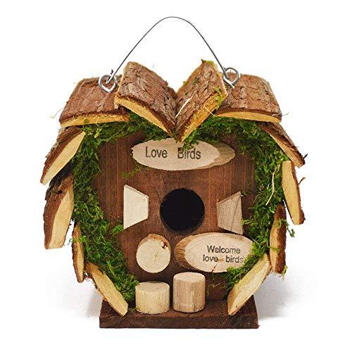 DRULINE Vogelhaus Vogelfutterhaus Futter Nisthöhle mit Einflugloch stabil für Gartenvögel natürlich mit süßer Aufschrift aus Holz zum Aufhängen für den Garten Balkon oder Terrasse | L x B x H 16 x 14 x 16 cm | Holz Natur