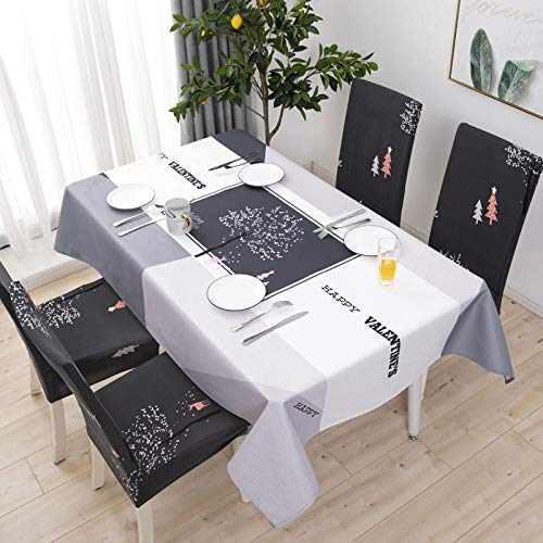 chenbyyao Baumwolle und Leinen klein frisch wasserdicht mit dem gleichen Stuhlbezug (ohne Tischdecke) 6 Kakteen,Stuhlabdeckung elastisch, Microfiber Spannbezug mit Gummizug