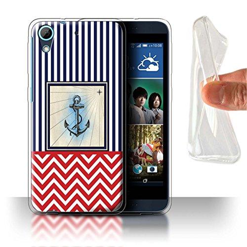 Stuff4® Gel TPU Hülle/Case für HTC Desire 626G+ / Bootsanker Muster/Nautisch Marine Chevron Kollektion