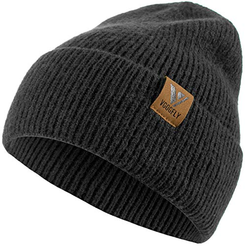Vgogfly Beanie Men Slouchy Knit Skull Cap Warm Stocking Hats Guys Women Striped Winter Beanie Hat Cuffed Plain Hat