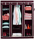 Device Folding Wardrobe Storage Rack Collapsible Clothes Fabric Cloth Storage Almirah (Red Wine)