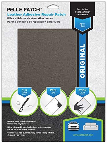 Pelle Patch - Toppa Adesivo per Riparare Pelle e Vinile - 25 Colori Disponibili - Original 28cm x 41cm - Grigio Medio