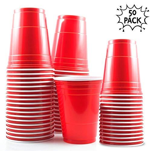 50 tazas rojas de 16 oz - Accesorio de fiesta para la celebración de Navidad y cumpleaños -...