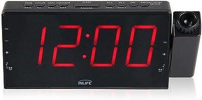 LayOPO Reloj Despertador de Proyección para El Dormitorio, Pantalla de Número de Led Grande Atenuador