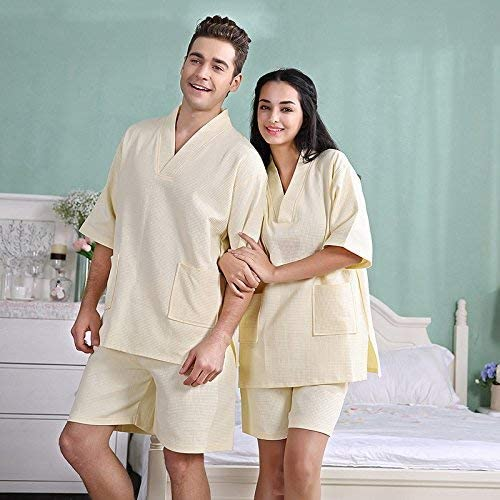 FERFERFERWON Nachthemd, Sweat-Shirt en Coton, Chemise de Nuit, survêteHommest en Coton, Peignoir (Couleur  Jaune, Taille  XL)