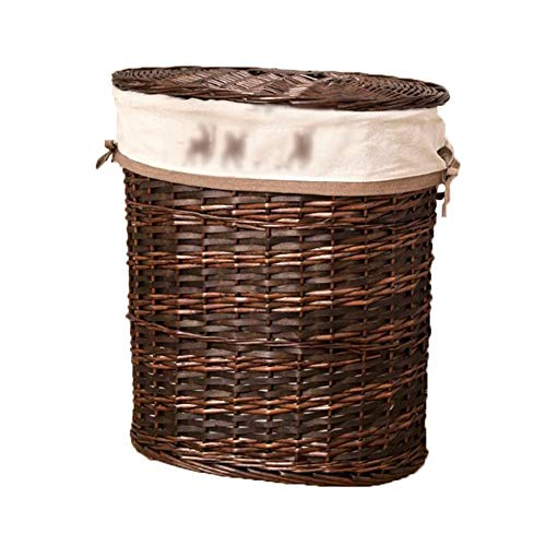 Heding Storage Basket Wicker Cotton Lining Elliptical Shape With Lid PU Handle Hand Made High Capacity Durable Bedroom Clothes, 2 Sizes (Color : A, Size : 50X37X54CM)
