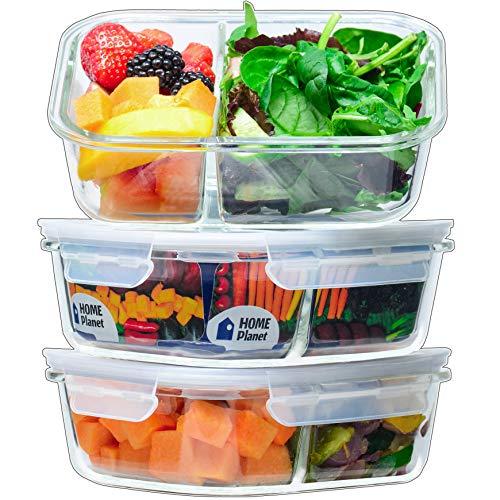Home Planet Recipientesde Cristalpara Alimentoscon 2Compartimentos | 1050ml X 3 | 97% Embalaje de plástico eliminado | Envases Cristal Alimentos | Contendores