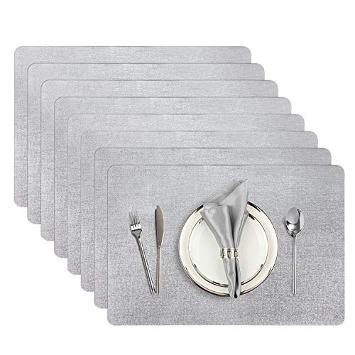 AIRCOWRIE Placemats for Dining Table Set of 8 Heat-Resistant Placemat Washable Vinyl Table Mats for Kitchen Restaurant Easter Decorations Silver