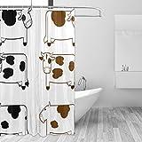 MONTOJ süße Kühe Malerei Muster Home Decor Duschvorhang, Badevorhang, Stoff Badezimmer-Dekorationsset mit Haken, 177,8 cm, langlebig & superwasserdicht, 1 Panel, 183 x 183 cm