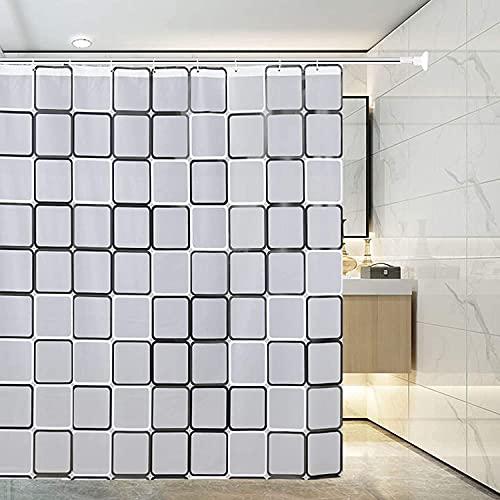 Duschvorhang ist mit umweltfre&lichen Wasserdichten & rostfreien Metallösen mit Kunststoffhaken gefüttert, geeignet für Badewannen oder Duschen (Schwarz-Weiß-Quadrate 180 cm × 180 cm)
