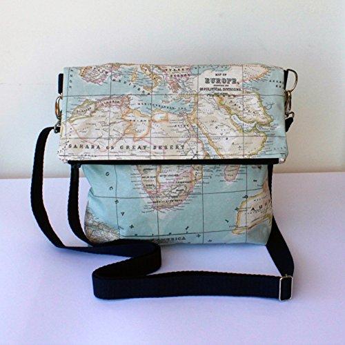 Bolso - Mochila - La vuelta al Mundo - Bolso bandolera convertible en mochila, hecho a mano en lona mapamundi y algodón