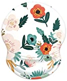 YOOMAS Ergonomic Mouse Pad Floral with Soft Memory Gel Wrist Rest Support, Cute Aesthetic Floral Mousepad with Non-Skid Rubber Base for Home & Office Working - Flowering/Reseda Green