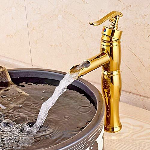 LXGANG grifo sola manija fregadero oro latón cascada baño grifo cubierta montaje mezclador encimera grifo baño