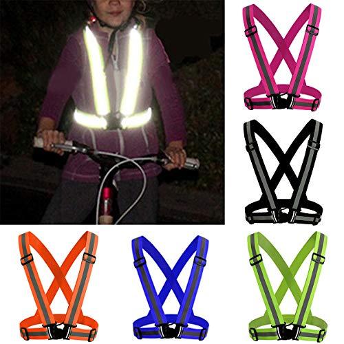 Tianhaik veiligheidsvest voor 's nachts hardlopen met elastische verstelbare riem, veiligheidsvest voor hardlopen, joggen, fietsen en motorfietsen