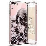 kompatibel mit iPhone 7 Plus Hülle,iPhone 8 Plus Hülle,Bunt Muster Transparent TPU Silikon Handy Hülle Tasche Crystal Hülle Durchsichtig Schutzhülle Für iPhone 8 Plus/7 Plus,Schwarz Blumen Schädel