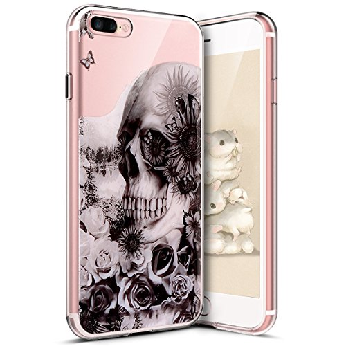 iPhone 7 Plus Funda,iPhone 8 Plus Funda,Funda Transparente Suave Tpu Gel Ultra Fina Protección A Bordes Y Cámara Bumper Crystal Móvil Ultrafina Funda para iPhone 7 Plus/ 8 Plus,Cabeza de Calavera