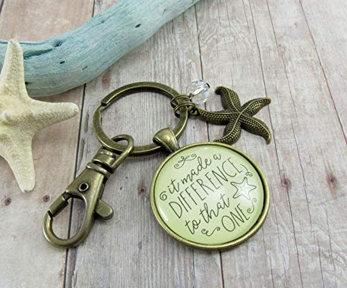 Gutsy Goodness Starfish Keychain It Made a Difference to That One Teacher Appreciation Gift Pendant Inspirational Jewelry For Women