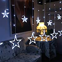 LEDカーテンライト、12つ星138 LEDカーテンストリングライトメモリウィンドウカーテンライト8つの点滅モード付きクリスマス、結婚式、パーティー、壁、家の装飾用の装飾(白)