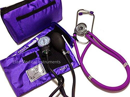 EMI NK-330 Sprague Rappaport Stethoscope and Aneroid Sphygmomanometer Manual Blood Pressure Set and Pocket Organizer Nurse Kit (Purple)