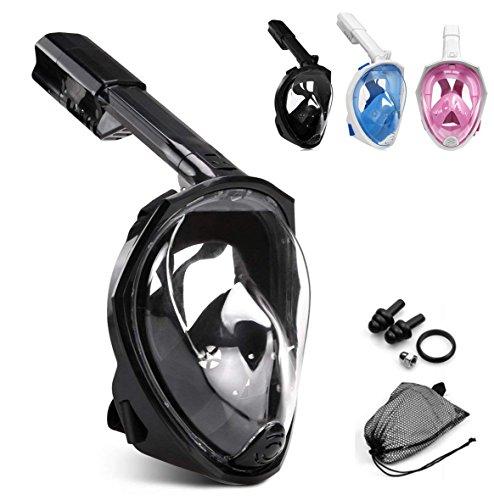 HHD® Máscara de Buceo, Máscara de Snorkel con Visión Panorámica de 180 Grados y Montura Compatible con GoPro. Gafas de Buceo con Sistema de Respiración Natural y Tecnología Anti-filtraciones