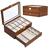 Wood Watch Box for Men Women, Wooden Watch Case Organizer with Jewelry Drawer for Storage and Display-10 Slots and Glass Top