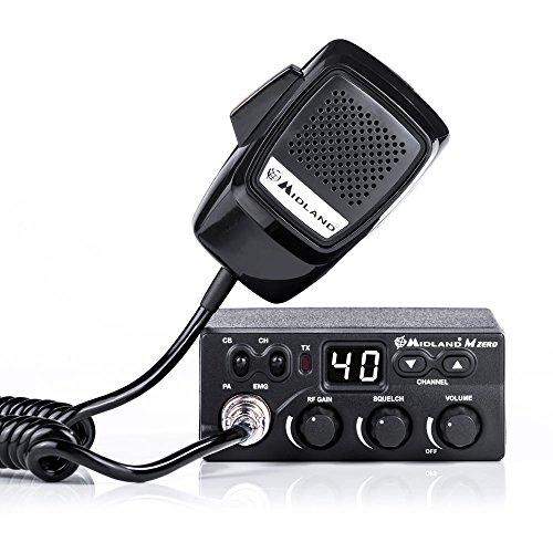 Midland M Zero Plus CB Radio Ricetrasmittente Veicolare 40 Canali AM/FM, Ricetrasmettitore con Microfono 4 Pin, 2 Bande, Controllo Squelch e Rf Gain