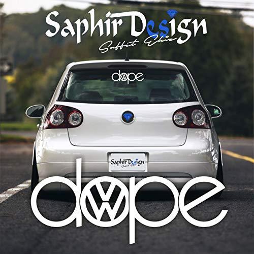 Saphir Design Vw Dope Tuning Autoaufkleber - Logo A182 / 18 x 8 cm Hochleistungsfolie in der Farbe Weiß
