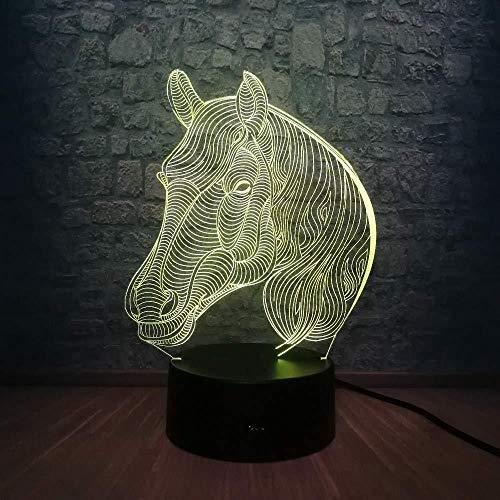 3D nachtlampje 3D nachtlampje paardenhoofd dier nachtverlichting 3D LED USB lamp bureau slaapkamer wooncultuur kindergeschenk multicolor Change RGB gloeilamp met verrekijker