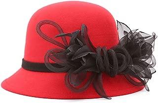 ChenXi Store Women's Wool Felt Flowers Church Bowler Hats