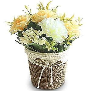 Olymajy Macetas Artificiales Decoracion, Cesta de Flores Artificiales de Ratán Flores de Claveles para la Casa…