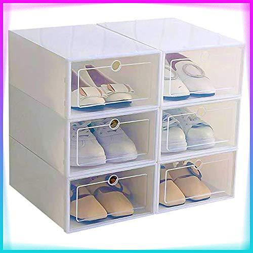 TiooDre Scatola da Scarpe 6 Pezzi Scatola da Scarpe in plastica Trasparente Scatola da Scarpe impilabile Organizzatore Salva Spazio per Donne/Uomini (White)