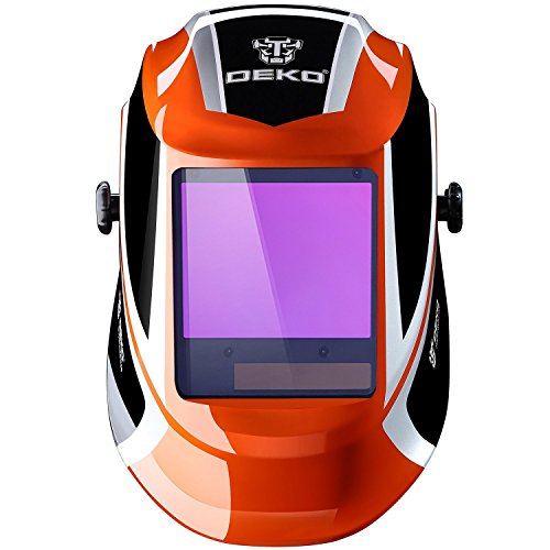 DEKOPRO Welding Helmet Auto Darkening Solar Powered wide viewing field Professional Hood with Wide Lens Adjustable Shade Range 4/9-13 for Mig Tig Arc Weld Grinding Welder Mask