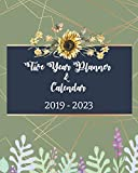 2019-2023 Five Year Planner And Calendar: Green Leaf Cover, Monthly Schedule Organizer, 60 Months Calendar Planner Agenda with Holidays