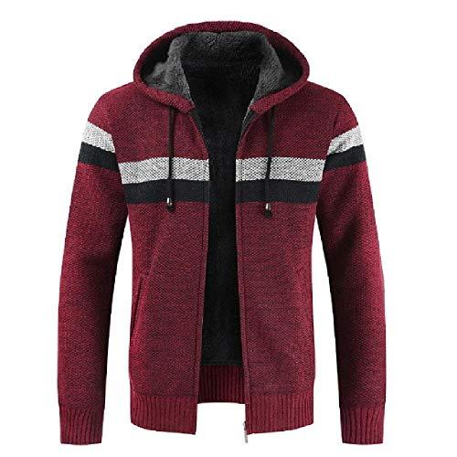 U/A Hommes Zip Up Casual Élastique Pull Manteau Tops Veste Outwear Pull Jogger Zipper Hommes Hiver Hoody - Rouge - XL
