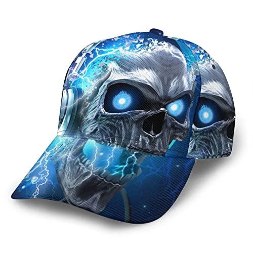 N \ A Moda Gorra De Béisbol 3D Impreso Trucker Sombreros Azul Fuego Cráneo Música Auriculares Deportes Snapback