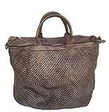 Superflybags Damentasche Schultertasche Modell SALAMANCA Echtes Leder Geflochten/Gewaschen Made In Italy