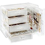 Acrylic Jewelry Organizer Box, Clear Earring Holder Jewelry Hanging Boxes with 4 Velvet Drawers for Earrings Ring Necklace Bracelet Display Case Gift for Women, Girls
