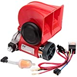 FARBIN 24V Train Horn Loud Air Horn with Compressor Truck Horn Kit with Wiring Harness (24V, red)