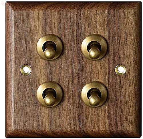 Foicags American Black Walnut Solid Wood Moneen 1-4 Gang Way Toggle Switch Switch Panel Lámpara de latón Interruptor Retro 86 Tipo Casa de huéspedes Estilo antiguo Lámpara de pared Interruptor de cont