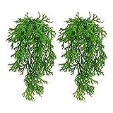 Plantas decorativas al aire libre 2 unids arbustos artificiales colgando enredades helechos plantas que arrastran las plantas de hiedra falsas de la guirnalda para la decoración al aire libre Jardín,