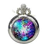 Reloj de bolsillo espacial joyería galaxia reloj collar de piel de zorro nebulosa reloj de bolsillo colgante sol estrella luna universo regalos para ella