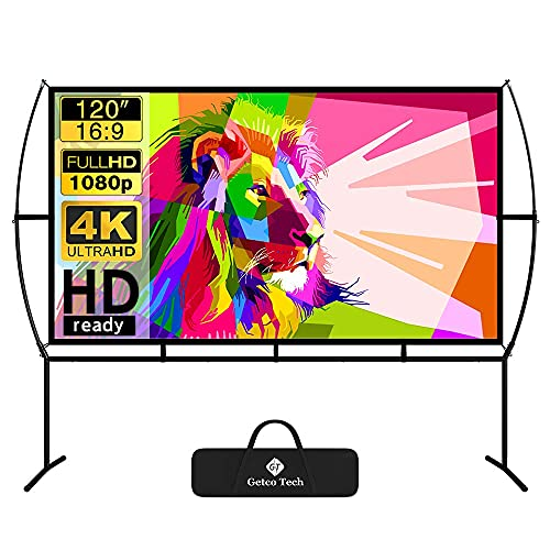Projector Screen with Stand Foldable Portable Movie Screen 120 Inch(16:9), HD 4K Double Sided Projection Screen Indoor Outdoor Projector Movies Screen for Home Theater (120 Inch) (Renewed)